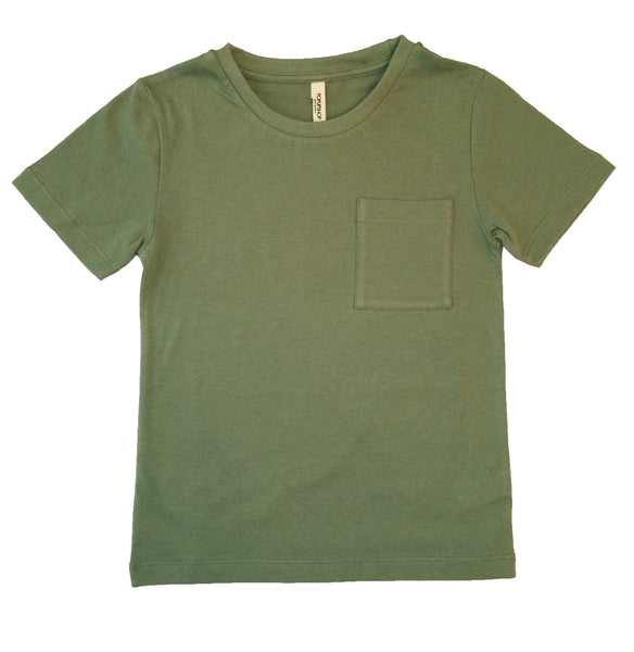 Popupshop Army Green Loose Tee with Pocket | POCO KIDS