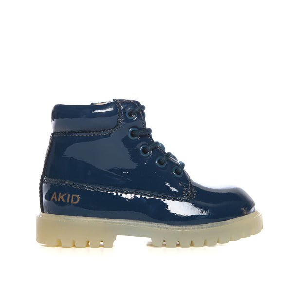Akid Atticus Navy Patent Leather Boots Kids- Side| POCO KIDS
