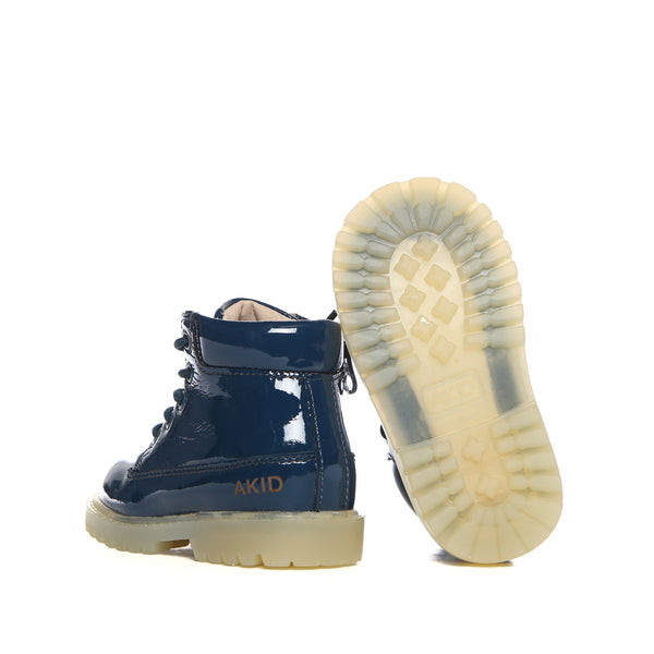 Akid Atticus Navy Patent Leather Boots Kids-Sole Image | POCO KIDS