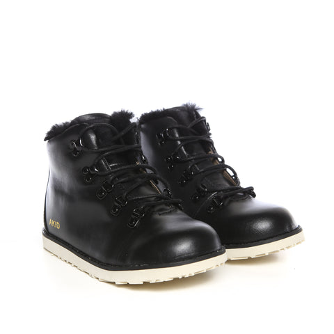 AKID Jasper Black Fur Leather Boots Kids | POCO KIDS