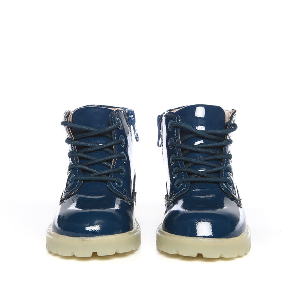 Akid Atticus Navy Patent Leather Boots Kids-Front | POCO KIDS