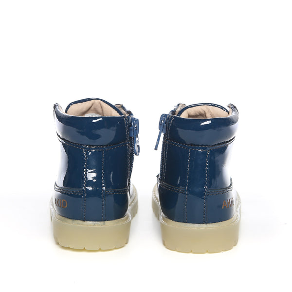 Akid Atticus Navy Patent Leather Boots Kids- Back | POCO KIDS