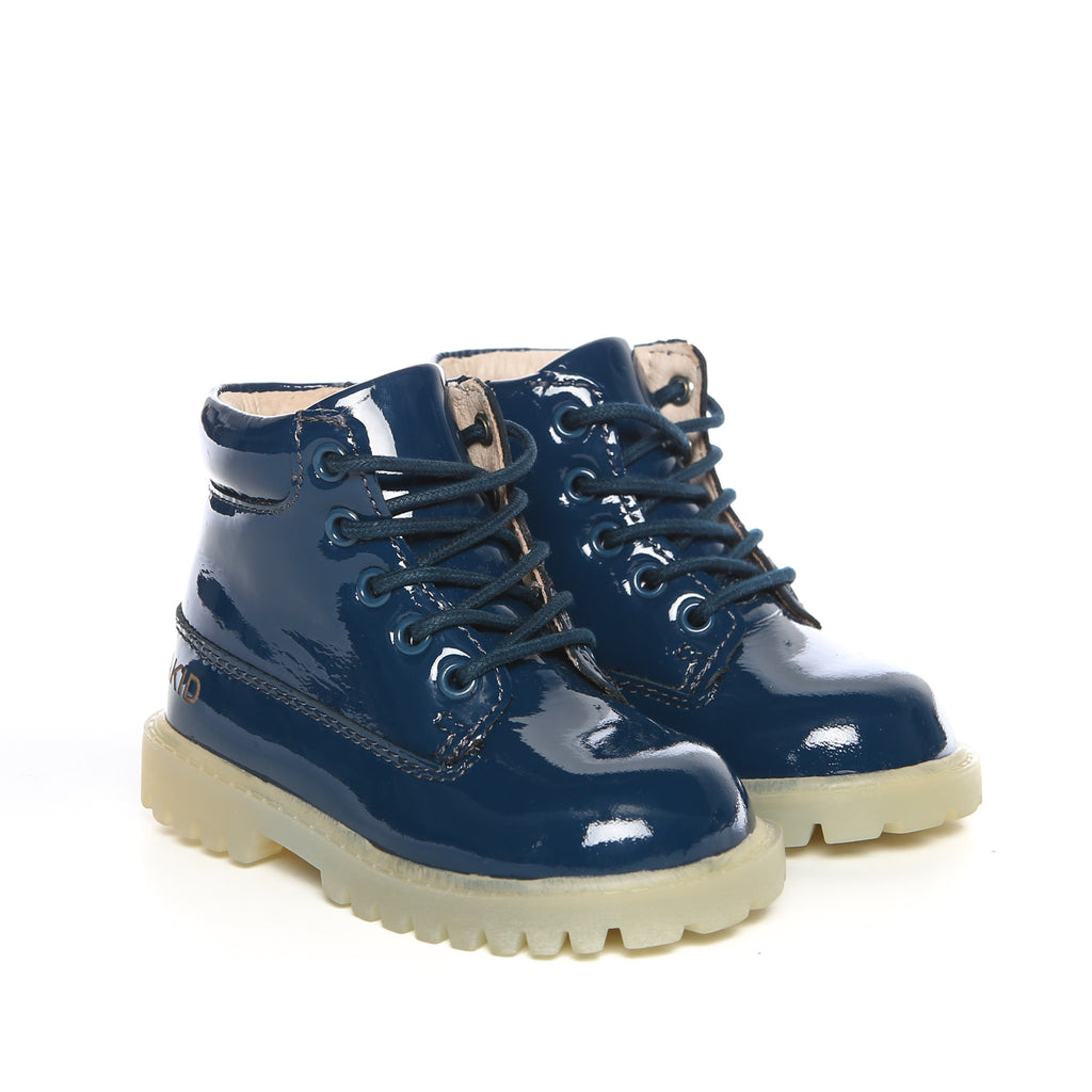 Akid Atticus Navy Patent Leather Boots Kids | POCO KIDS