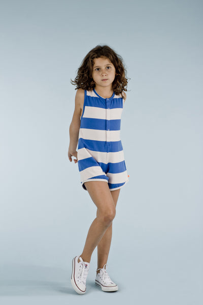 Tinycottons Big Blue and Pink Stripes Onesuit, look book image | POCO KIDS