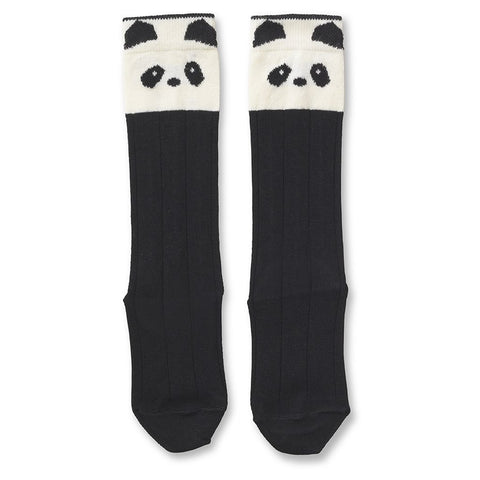 Liewood Cream and Black Panda Knee High Socks | POCO KIDS