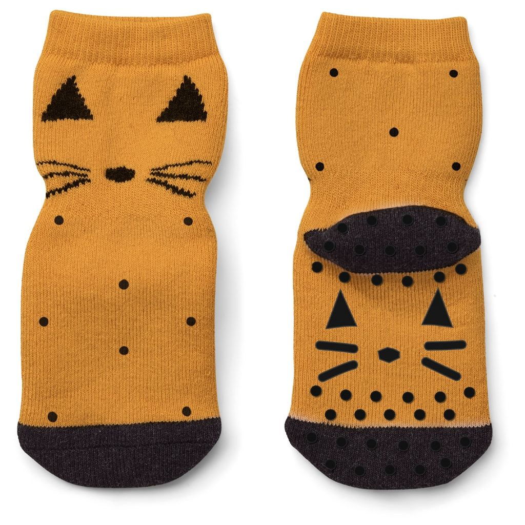 Liewood Mustard Cat Nellie Baby Anti Slip Socks | POCO KIDS