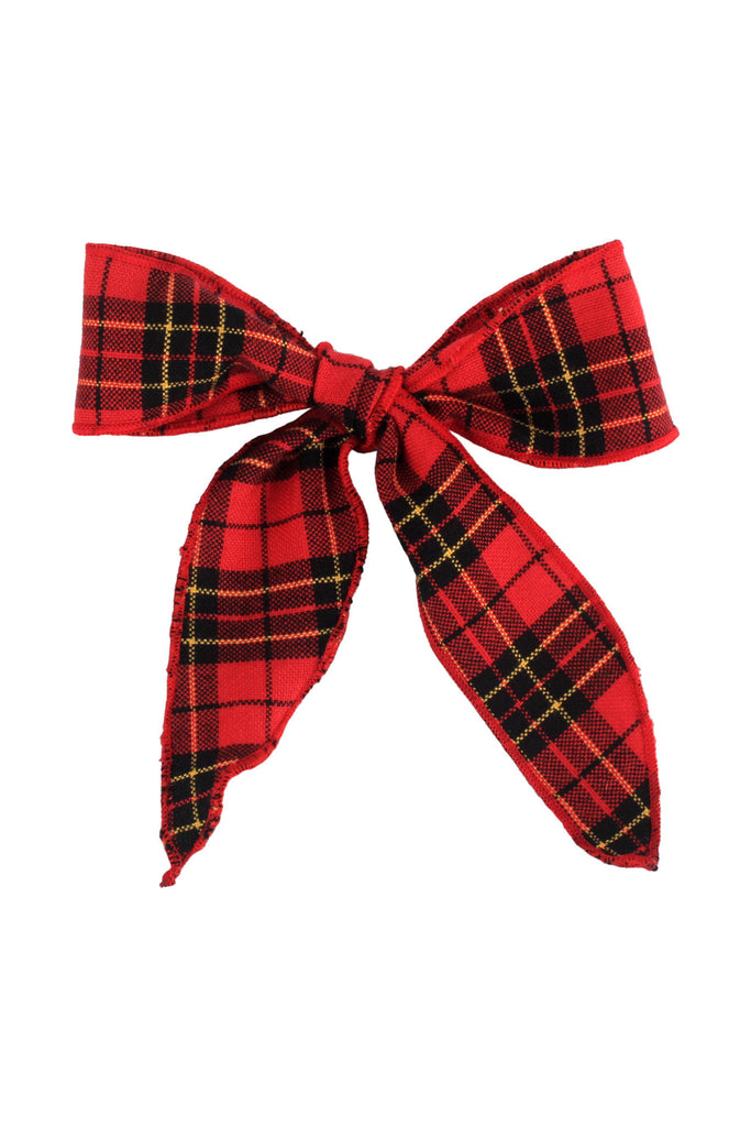 Donsje Red Christmas Tartan Check Fabric Laces| POCO KIDS