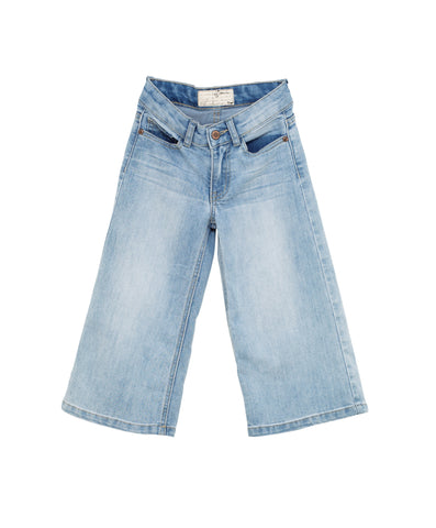 I Dig Denim Light Blue Lowell Flare / Cullotes, wide leg cropped flare | POCO KIDS