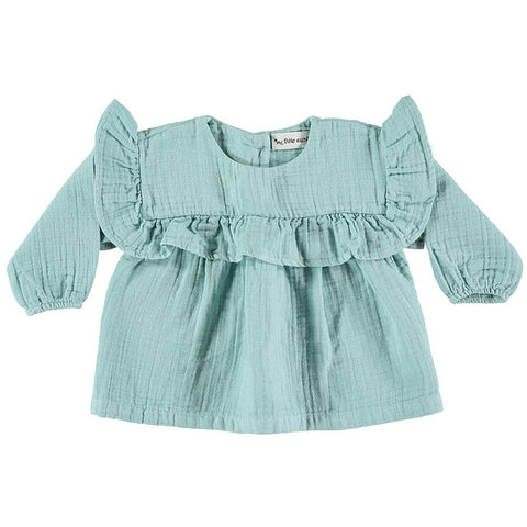 My Little Cozmo Mint Green Dublin Frill Blouse | POCO KIDS