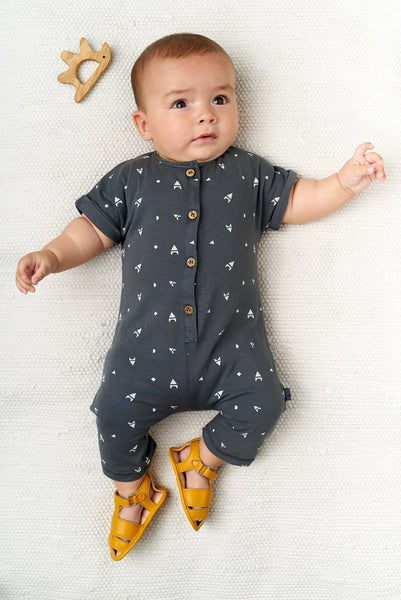 My Little Cozmo Dark Grey Rocket Blocks Romper, look book image | POCO KIDS