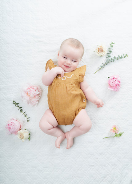 My Little Cozmo Mustard Alma Linen Romper, look book | POCO KIDS