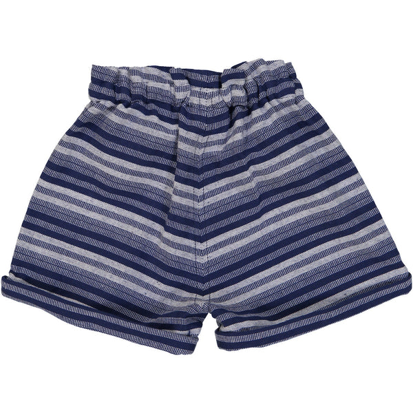 Tootsa MacGinty Indigo Stripes Manatee Comfy Shorts, back | POCO KIDS