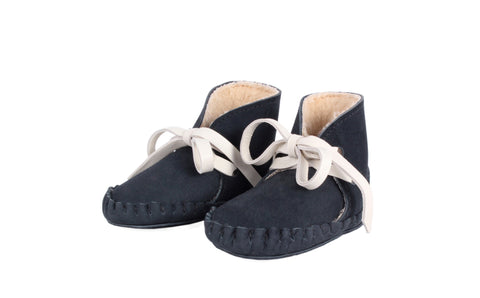 Navy Pina Booties with Faux-Shearling Lining