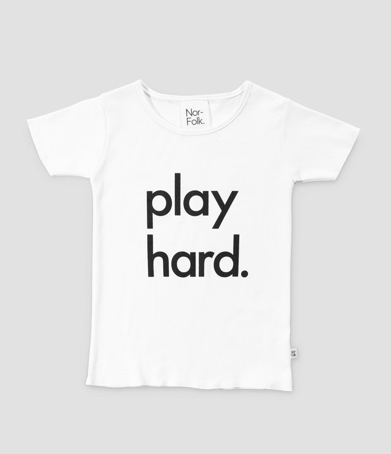 White Play Hard Tee