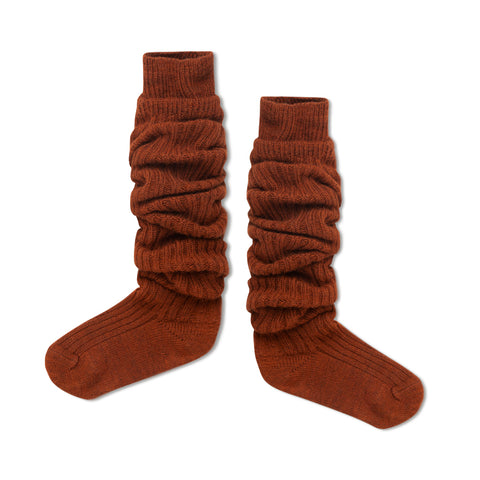Hazel Brown Woolly High Socks