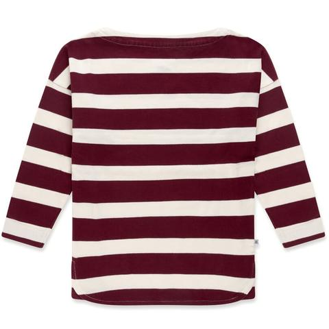 Repose AMS Berry Red and Cream Block Striped Boatneck Top | POCO KIDS