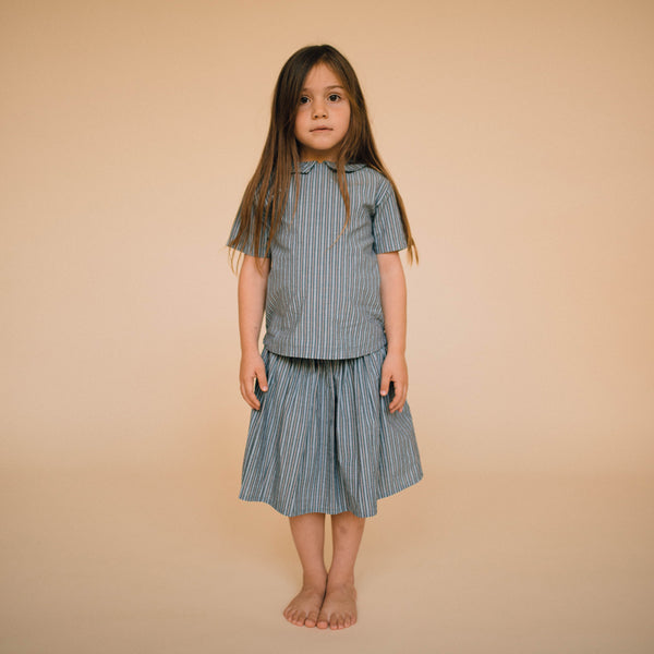 Repose AMS Blue Road Striped Shirt with collar, look book image | POCO KIDS