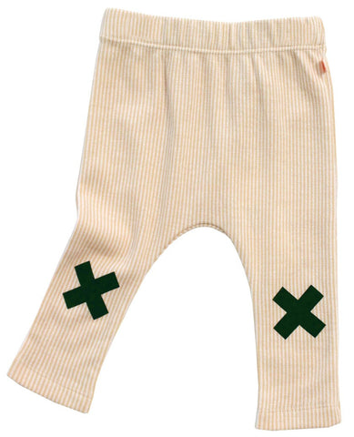 Tinycottons Camel and White Striped leggings with Tinycottons X print on the knees | POCO KIDS