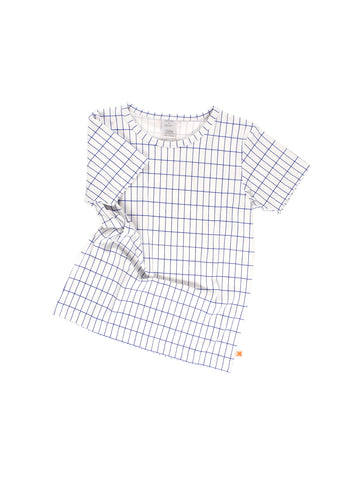 Tinycottons White and Blue Grid T-Shirt | POCO KIDS
