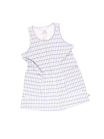 Tinycottons White and Blue Grid Tank Dress | POCO KIDS