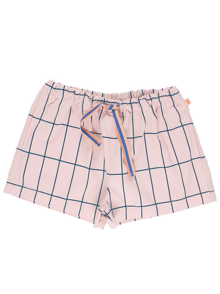 Tinycottons Big Grid Pink and Blue Shorts | POCO KIDS