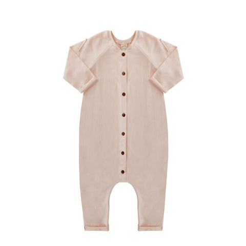 Frnky's Cream Pink Jumpsuit, with coconut buttons down the centre front | POCO KIDS