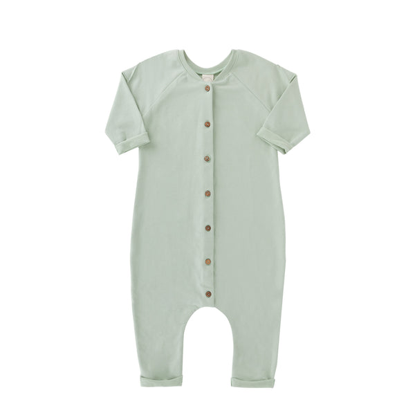 Frnky's Sea Foam Jumpsuit, with coconut buttons down the centre front | POCO KIDS