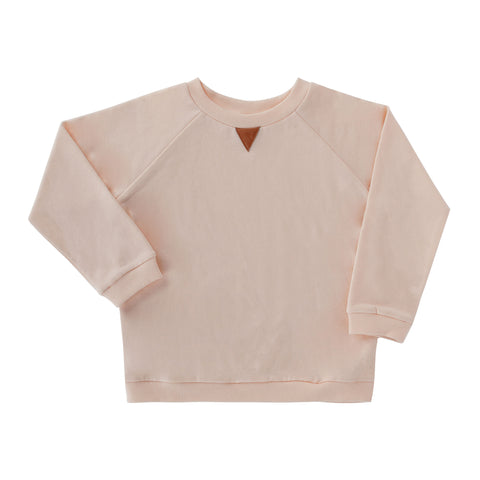 Frnky's Cream Pink Sweater with Dusky Pink leatherette triangle on the centre front | POCO KIDS