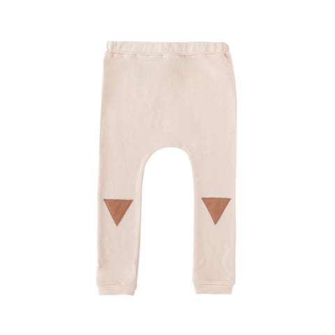 Frnky's Sea Cream Pink Sweatpants with Pink leatherette triangle on the knee | POCO KIDS