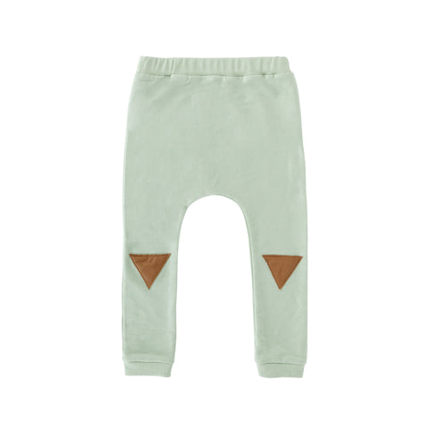 Frnky's Sea Foam Sweatpants with Brown leatherette patches on the knees | POCO KIDS