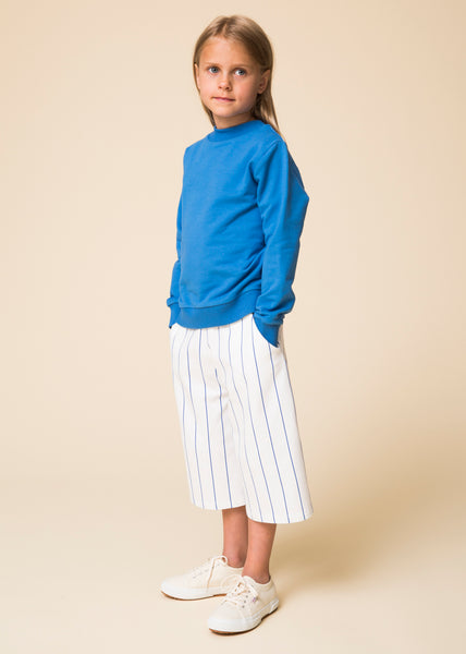WAWA White and Blue Arline Culottes and Sky Blue Sweater | POCO KIDS
