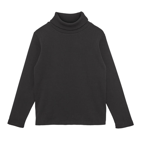 WAWA Black Roll Neck Ribbed Top | POCO KIDS