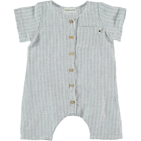 My Little Cozmo Grey and White Vintage Stripes Jumpsuit | POCO KIDS
