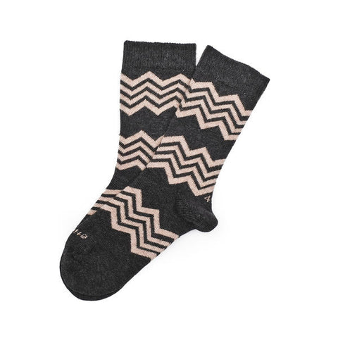 Vintage Brown Heather Aspen Stripe Socks