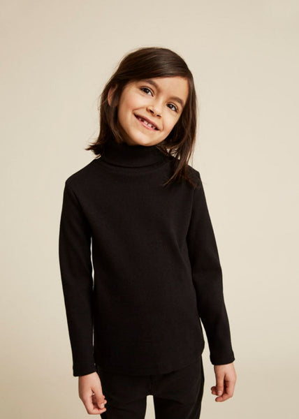 WAWA Black Roll Neck Ribbed Top, look book | POCO KIDS