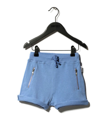 Someday Soon Summer Blue Freddie Shorts, with nickel zips pockets and cotton drawstring | POCO KIDS