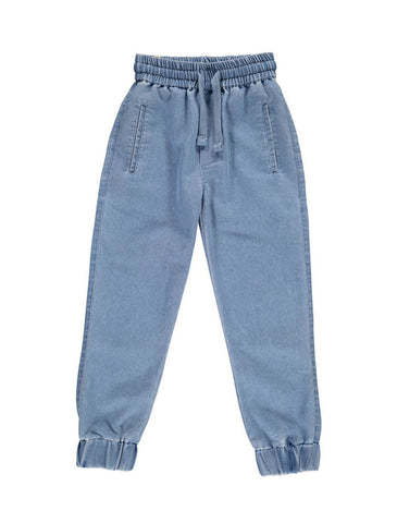 Popupshop Light Blue Chambray Lightweight Denim Trousers with elasticated waist and ankles | POCO KIDS