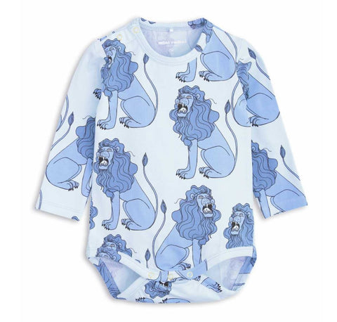 Mini Rodini Light Blue Baby Body Suit with printed Blue Lions | POCO KIDS