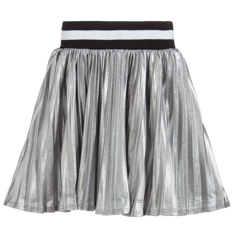 Eleven Paris Silver Metallic Pleated Aly Skirt | POCO KIDS