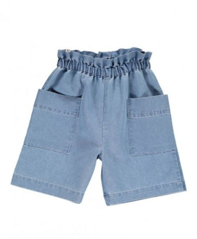 Popupshop Light Blue Chambray Lightweight Denim Shorts with elasticated waist | POCO KIDS