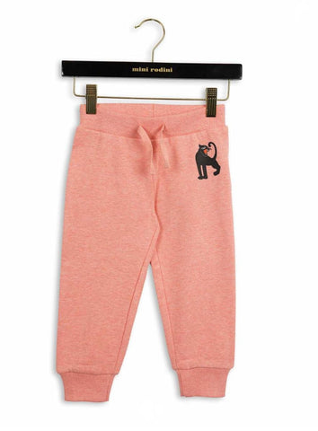 Mini Rodini Pink Melange Panther Sweatpants | POCO KIDS