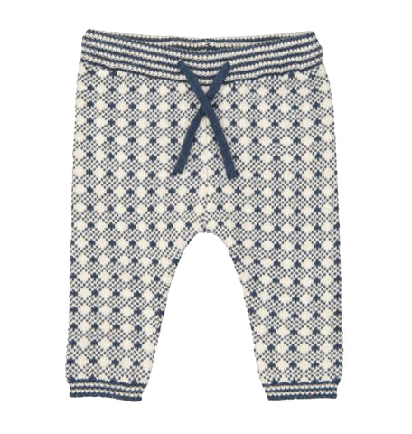 Kidscase Knitted White and Navy Check Sidney Trousers | POCO KIDS