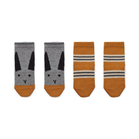 Liewood Rabbit / Mustard Stripe Silas Socks | POCO KIDS