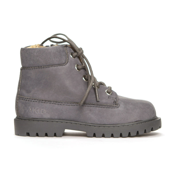 AKID Grey Atticus Boots, side view | POCO KIDS
