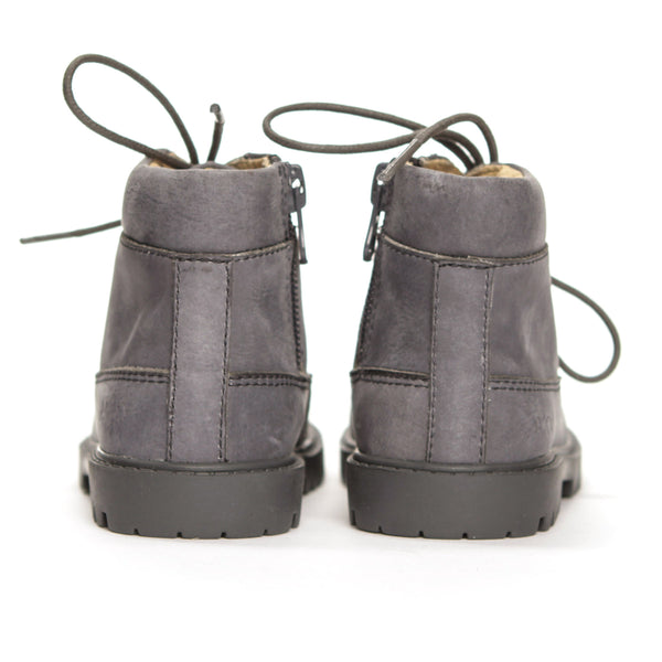 AKID Grey Atticus Boots, back view | POCO KIDS