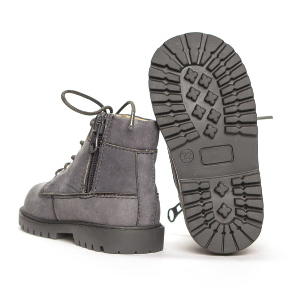 AKID Grey Atticus Boots, sole view | POCO KIDS