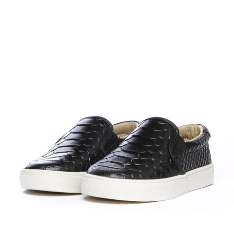 AKID Black Liv Snake slip on shoes | POCO KIDS