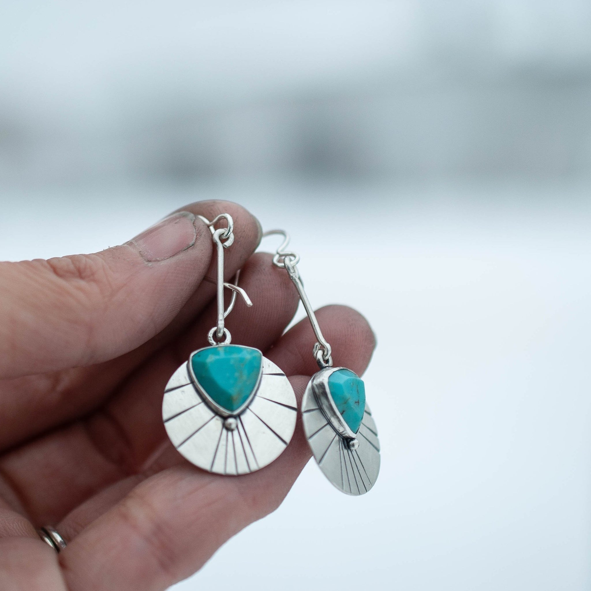 Triangle Turquoise Sun Ray Earrings
