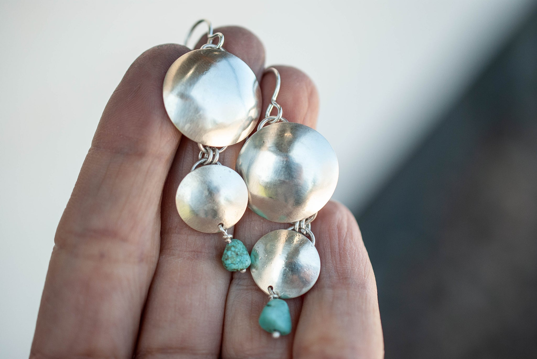 Triple Disc Drop Earrings