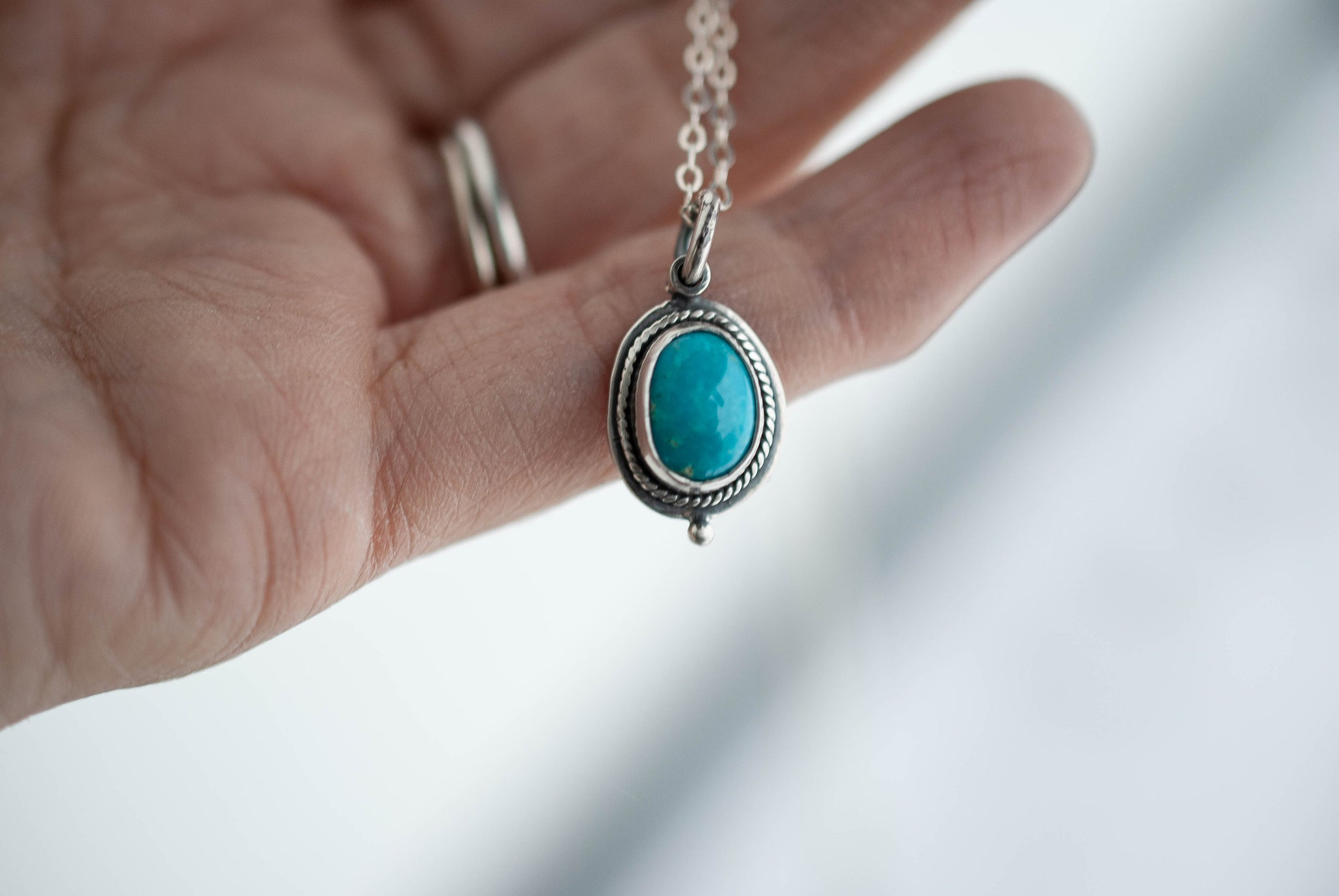 Kingman Turquoise Charm Necklace 2